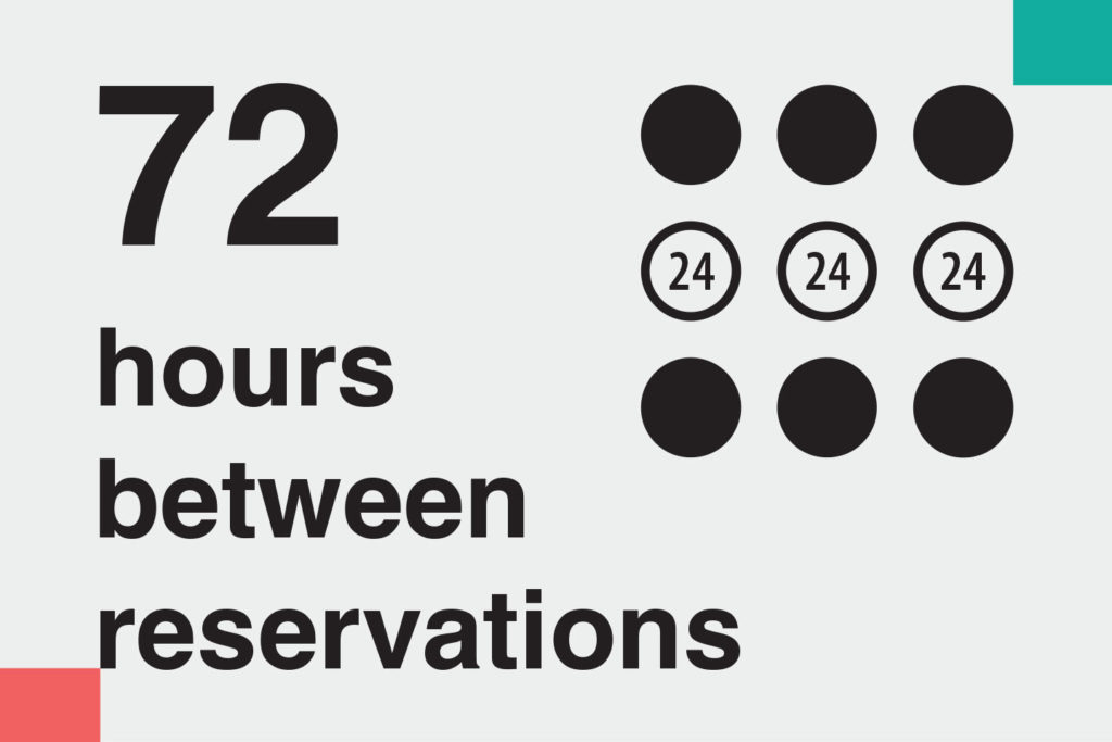 "illustration: ""72 hours between reservations"" – Information on methods of home cleaning and disinfecting during covid-19 for ads on booking platforms. Images telling guests how host follow Airbnb cleaning guidelines"