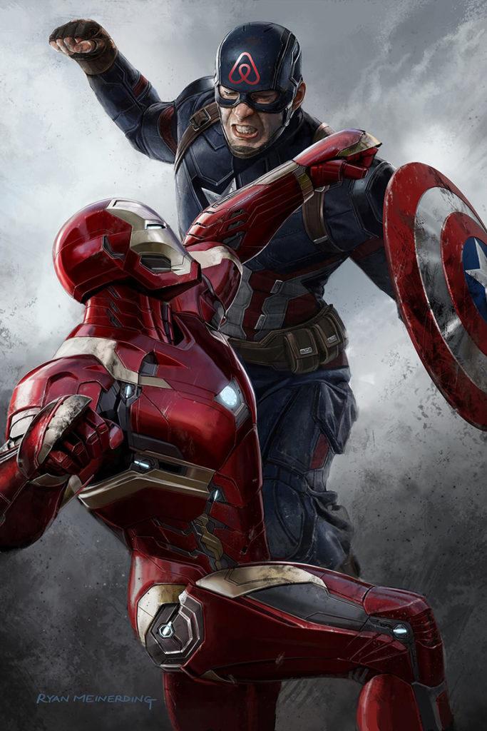 Юмористическая иллюстрация, изображающая борьбу Железного человека, символизирующего администрацию Нью Йорка, и Капитана Америки со знаком Айрбнб на лбу. Метафора из фильма «Первый мститель: Противостояние»_