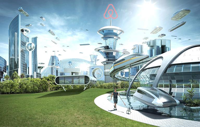 футуристичный коллаж с изображением города будущего. На шпиле центрального здания расположен светящийся знак Айрбнб_