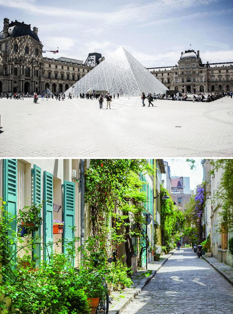Сравнение двух фото: Сверху – площадь Лувра со стеклянной пирамидой Йо Мин Пейя. Снизу – узкая, тихая улочка Парижа, увитая зелеными растениями_