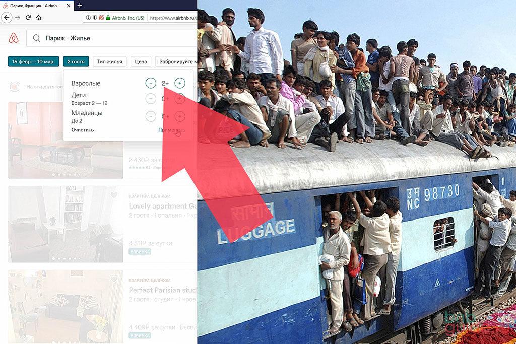 Инфографика. Левая часть изображения: интерфейс сайта и стрелка, указывающая на максимальное число гостей в бронировании Airbnb, которое принимает хозяин у себя дома. Правая часть: поезд в Индии набитый пассажирами – метафора большого числа желающих на квадратный метр_