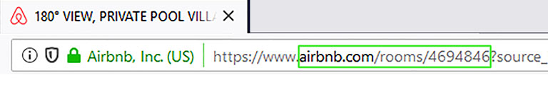 изображение со строкой браузера. В строку вписан числовой url с уникальным номером страницы аирбнб, со сдаваемым жильем_