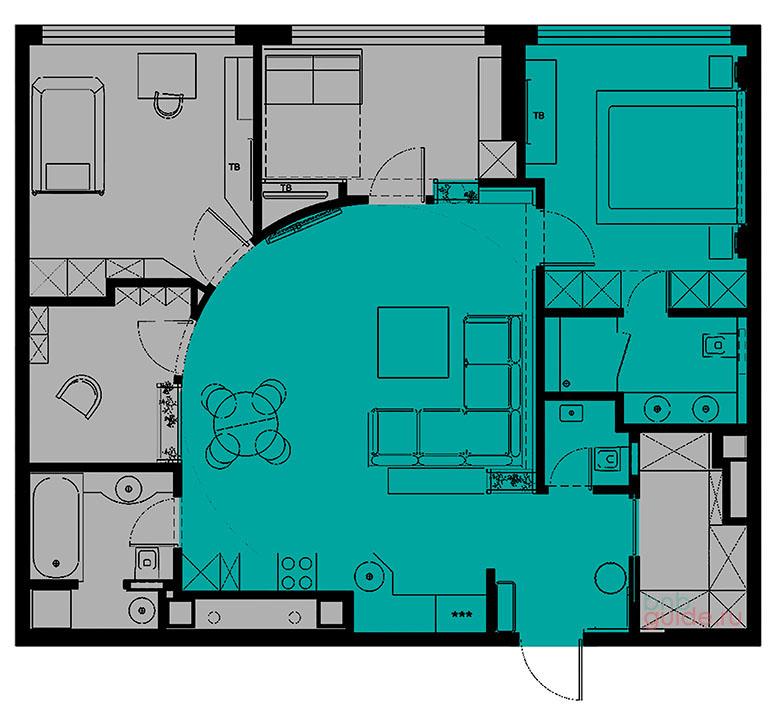 схема плана квартиры: серый цвет обозначает пространство помещений, недоступное гостям арендаторам, а зеленый цвет показывает помещения, которые гости могут использовать. Основные помещения для жильцов арендаторов: спальня; отдельный санузел с душевой при спальне. Дополнительные помещения для постояльцев: кухня; столовая; гостиная; гостевой туалет; прихожая_