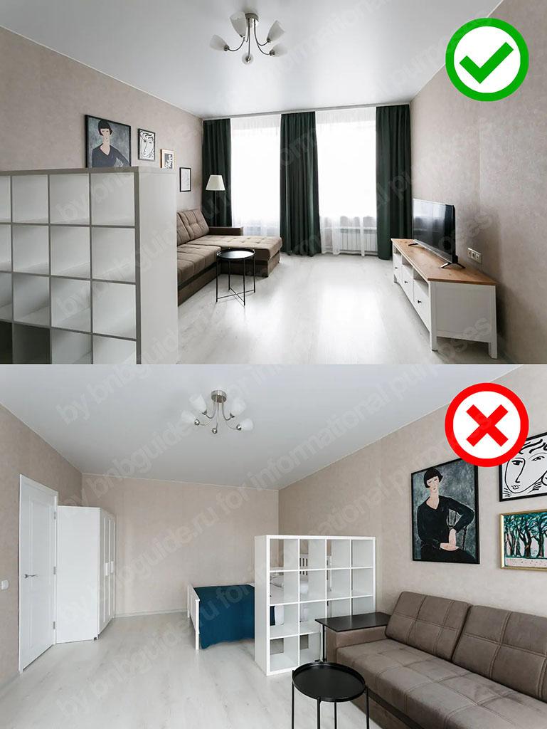 два фото с общим планом одной комнаты: верхнее изображение является общим видом на помещение в сторону окна, нижнее аналогичное, но в сторону входной двери. Верхнее фотоизображение более информативно и выглядит эффектнее, следовательно, должно быть выбрано в качестве первой – заглавной заставки объявления Airbnb о сдаваемом жилье_