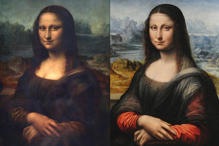 """сравнение двух похожих изображения картины """"улыбка Моны Лизы"""", как метафора копирования внешнего вида WEB страниц_"""