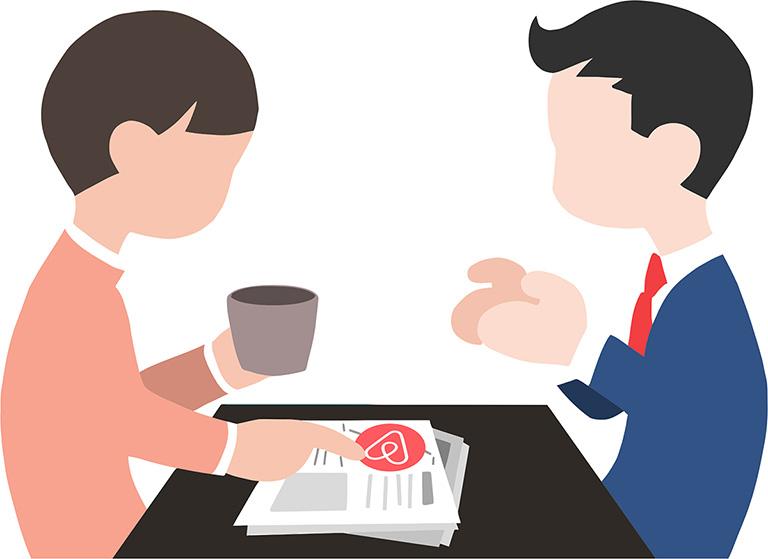 иллюстрация принципа взаимодействия участников через аирбнб. Два персонажа за столом: гость и хост (хозяин), на столе лежит газета с объявлениями, на которой присутствует логотип_
