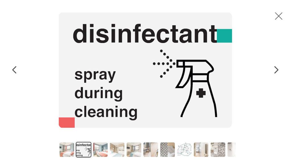 """заставка страницы: """"Инфо-изображения об уборке и дезинфекции жилья для объявления о сдаче через Airbnb"""""""