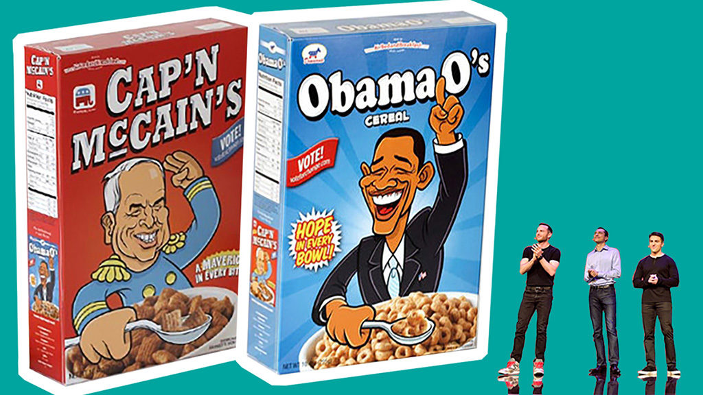 заставка статьи: история создания компании Airbnb. Изображение коллаж: огромные пачки с сухими завтраками «Cap'n McCains» и «Obama O's» на которых изображены кандидаты в президенты, а рядом на сцене стоят основатели