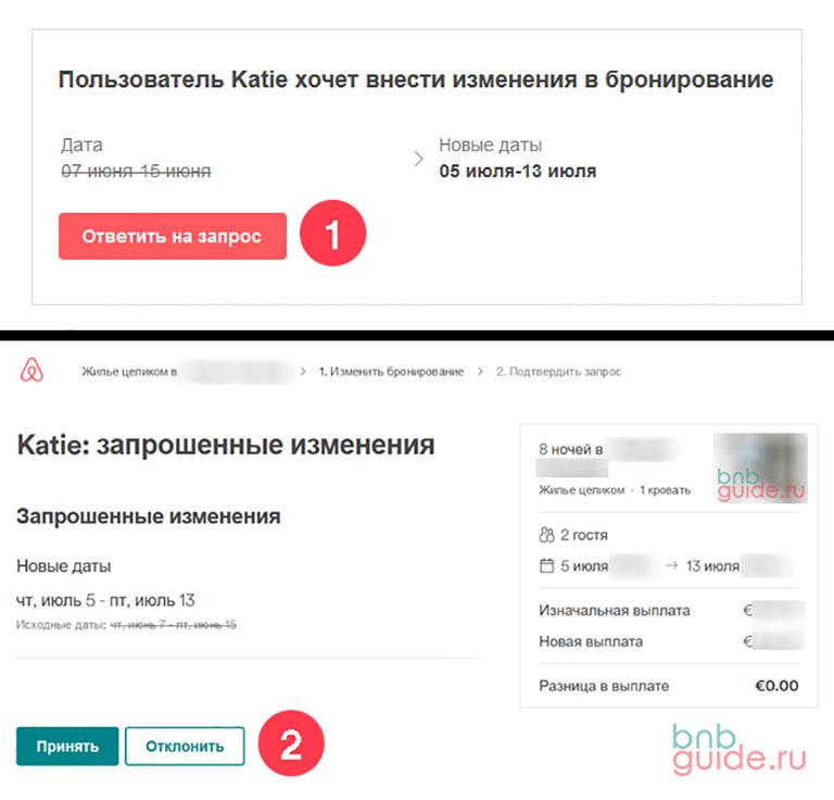 """инфографика: """"Пользователь Katie хочет внести изменения в бронирование"""" – скриншоты двух окон по шагам, показывающих процесс изменения дат в заявке на бронь Аирбнб по просьбе гостя_"""