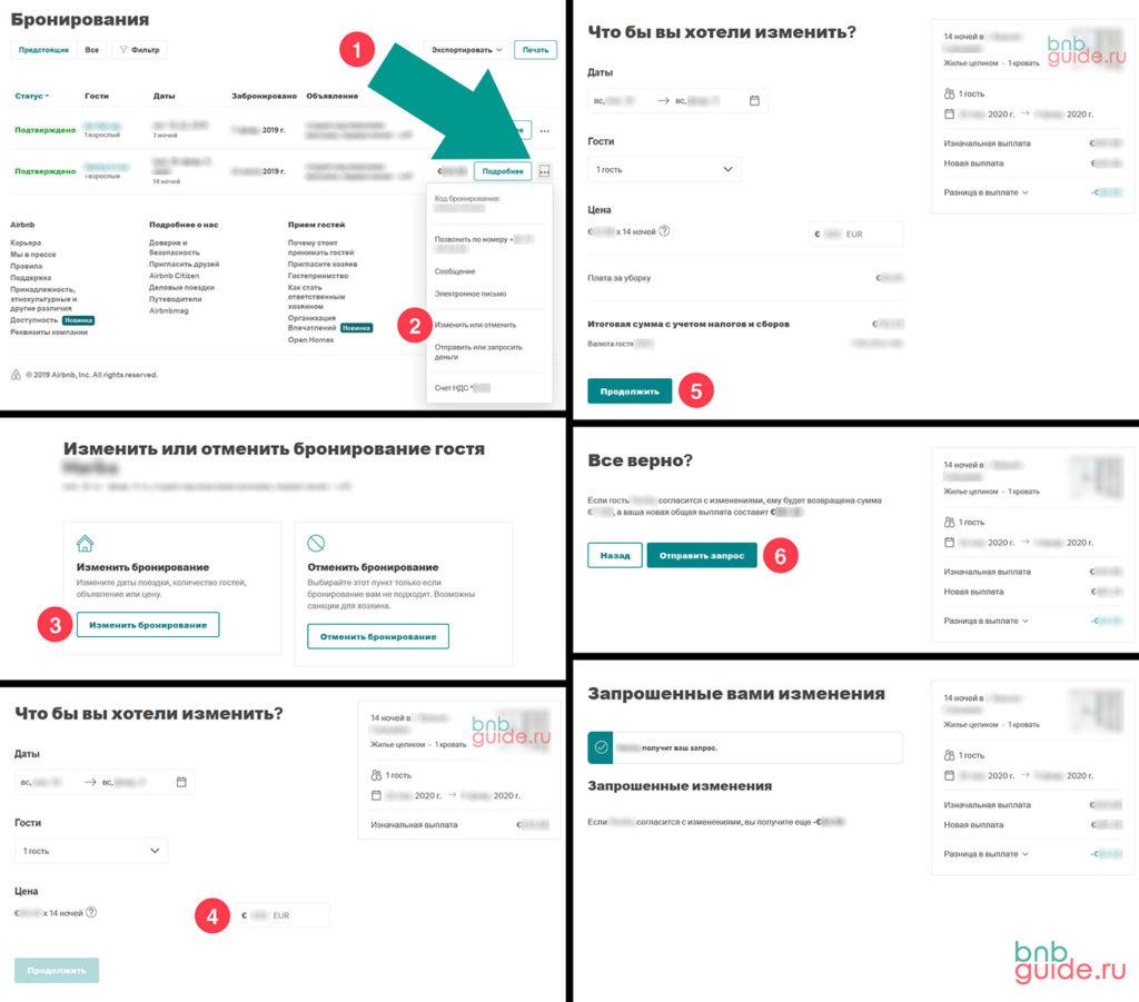 """инфографика: """"Изменение бронирования на Airbnb хозяином"""" – скриншоты шести окон по шагам, показывающих процесс внесения изменений, в ранее принятую бронь_"""