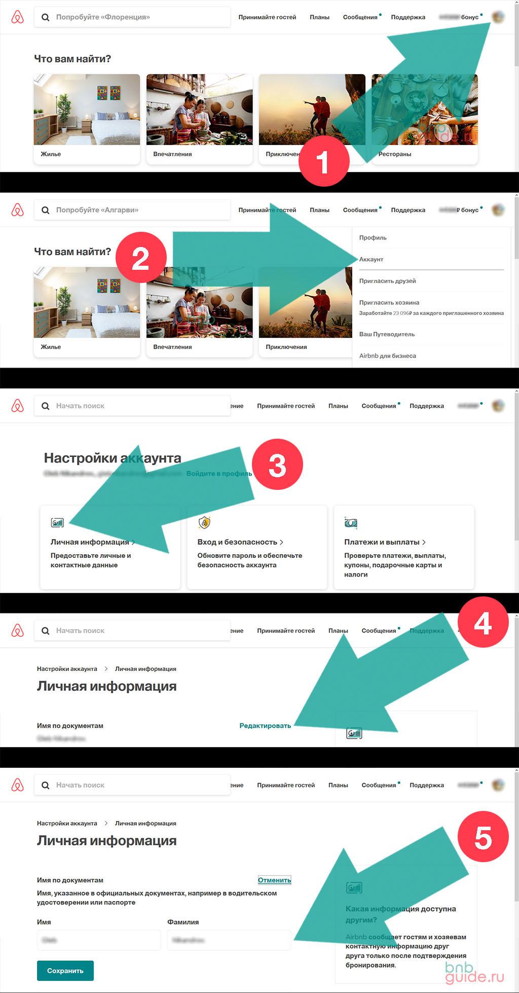 инфографика – инструкция: как изменить имя основного гостя (съемщика жилья) в квитанции Airbnb, для подтверждения бронирования при подаче на визу. Как правильно вписать ФИО плательщика за бронь Аирбнб в ваучер на проживание, для визового центра, или прохождения границы_