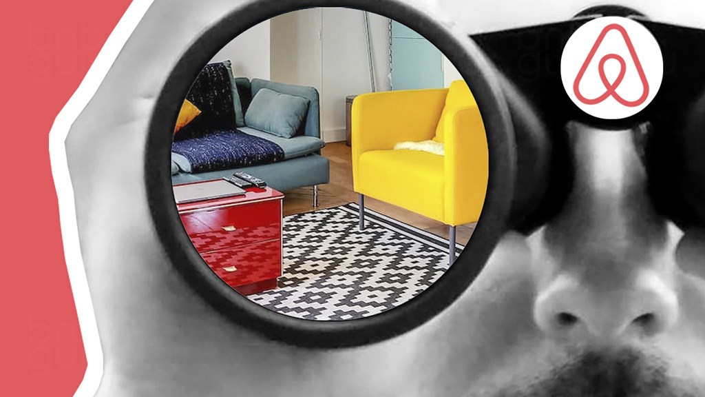 Заставка статьи: Как искать жилье на Airbnb для аренды | пошаговая инструкция. Изображение коллаж: гость смотрит в бинокль со знаком Арибнб на корпусе. В стеклах бинокля виднеется гостиная квартиры, которую ищет будущий арендатор_
