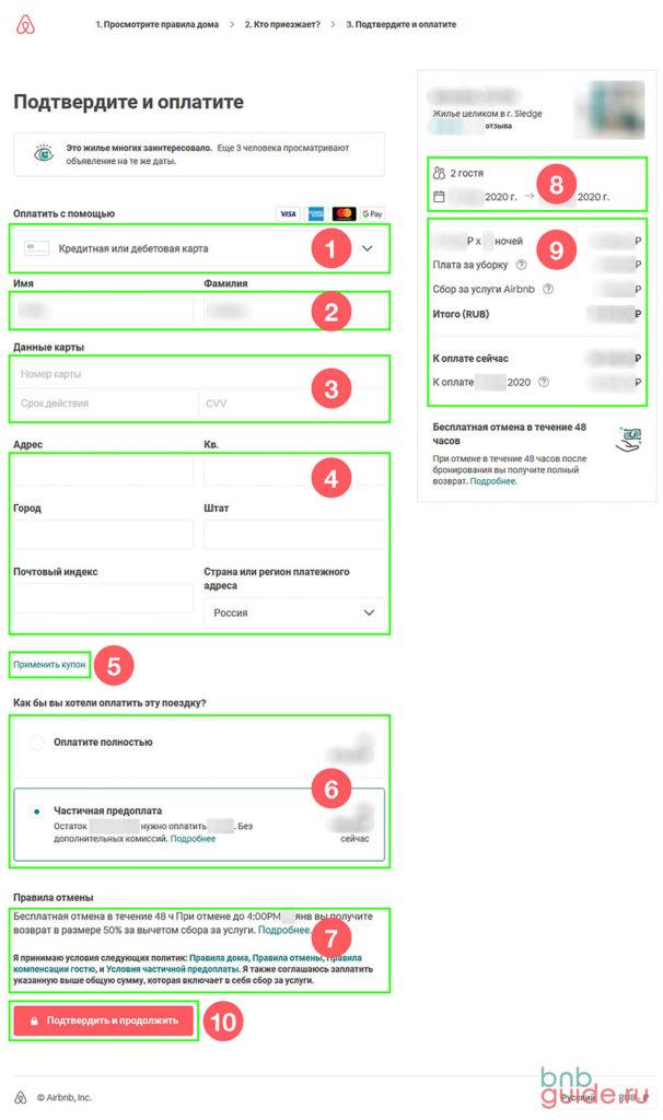 Инфографика – как происходит оплата жилья на Airbnb. Cкриншот страницы c указанием порядка ввода данных при оформлении брони на Аирбнб_