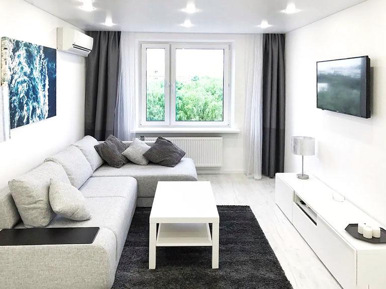 пример№3 – контрастное фотоизображение гостиной в квартире, сдающейся на короткий срок_
