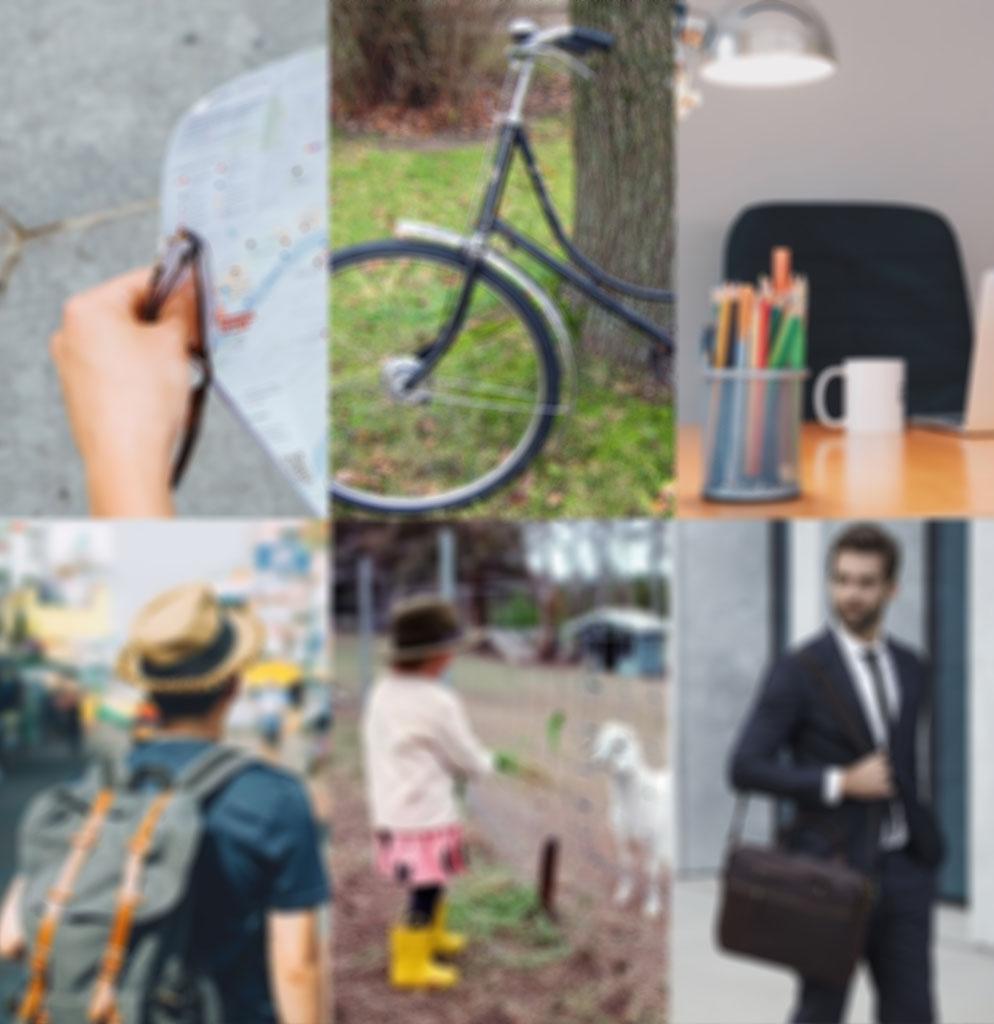 Определение потребностей гостя, арендующего жилье посуточно на Аирбнб. Конкурентным преимуществом в краткосрочной сдаче жилплощади является предоставление дополнительных удобств жильцам. Каждой категории арендаторов соответствуют свои дополнительные потребности. Фото коллаж: Карта-путеводитель для городского туриста; велосипед для семьи с детьми за городом; рабочее место с ноутбуком для командировочного, остановившегося рядом с деловым центром_