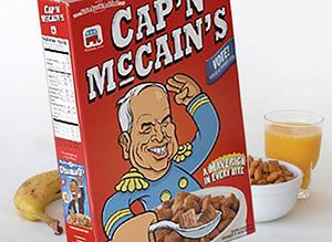Фото пачки с сухим завтраком - подушечки «Cap'n McCains» Эта находчивая бизнес идея позволила собрать начальный капитал для успешной истории создания компании Airbnb на старте_