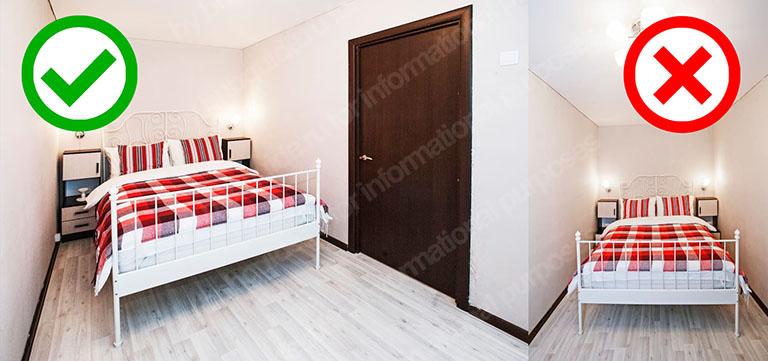 пример разных ракурсов на снимках: две фотографии: левое изображения сфотографировано из угла помещения, правое снято от торцевой стены_