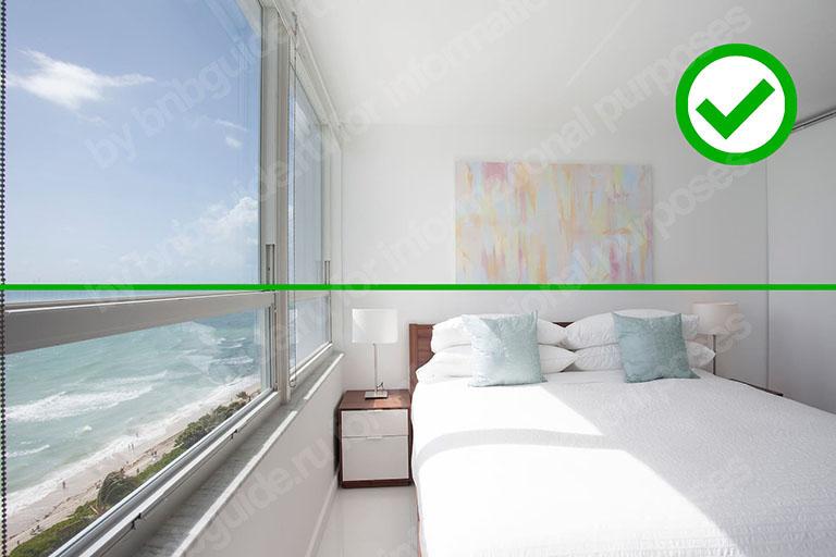 пример ровного горизонта на фото-изображении спальни_