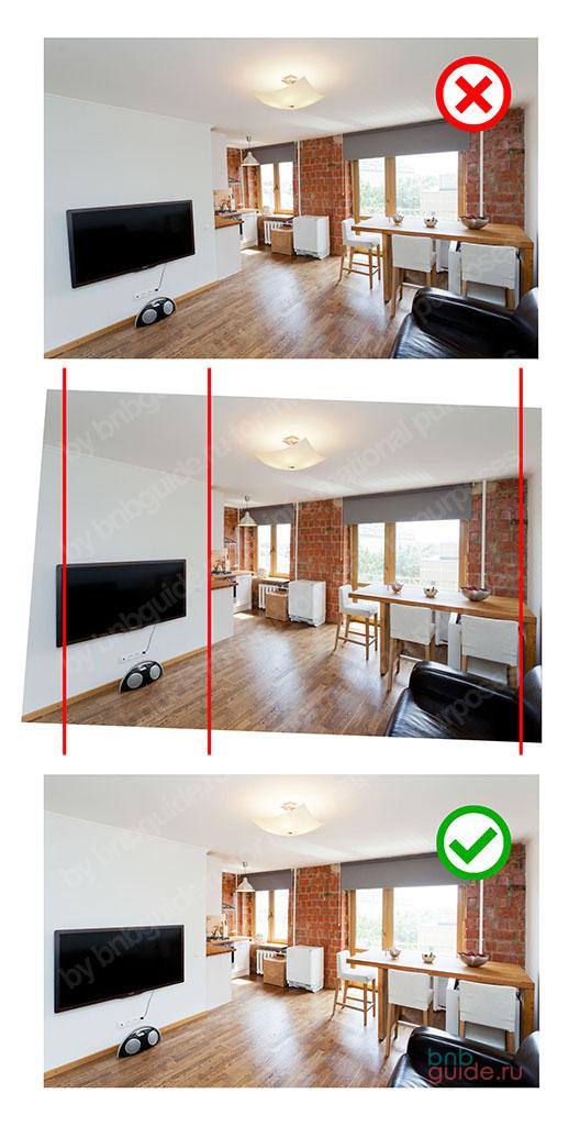 пример улучшения фотографии интерьера квартиры студии – выравнивание вертикалей на изображении при постобработке в фотошопе_