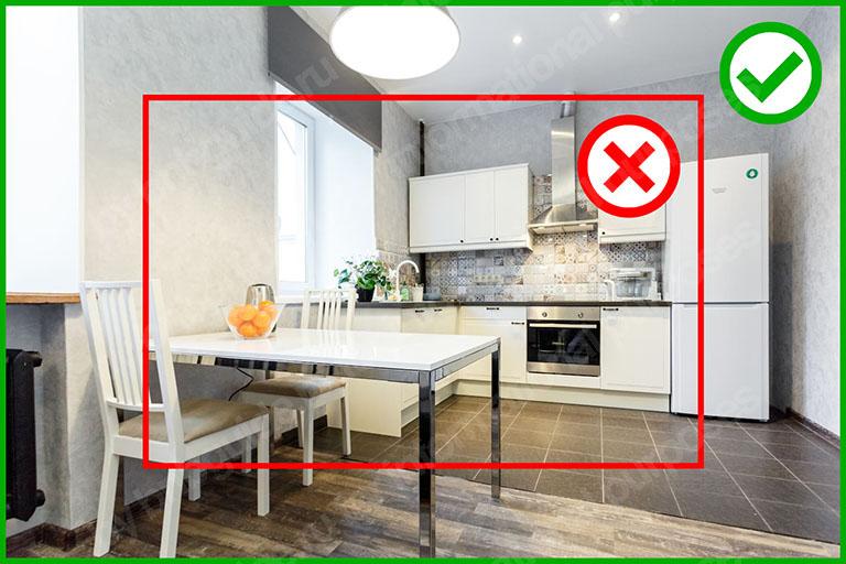 пример увеличения ширины кадра при использовании широкоугольного объектива: кухня_