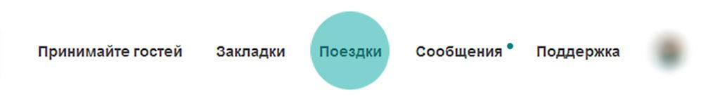 """Фрагмент верхнего меню сайта с кнопкой раздела """"Поездки""""_"""