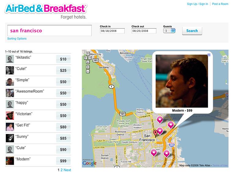 скриншот с видом сайта Airbnb 2009 года_