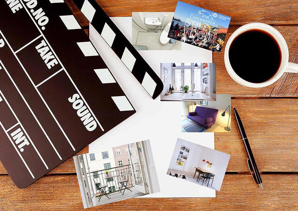 метафора процесса придумывания сценария графической подачи для презентации арендного жилья в объявлении на сайте сервиса Airbnb – фотоколлаж: чистый лист бумаги, бумажные фотокарточки с изображением жилых интерьеров, ручка, чашка с кофе, киношная хлопушка на деревянном столе_