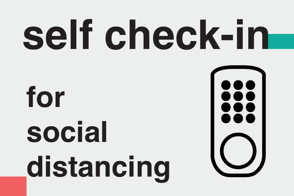 "illustration: ""Self check-in for social distancing"" – Information on methods of home cleaning and disinfecting during covid-19 for ads on booking platforms. Images telling guests how host follow Airbnb cleaning guidelines"
