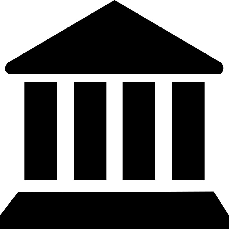графический значок здания с портиком и колоннами – символ банка, финансового учреждения_