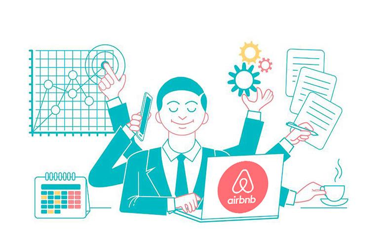Иллюстрация с шестируким персонажем, выполняющим несколько дел одновременно, как символ многозадачной службы поддержки айрбнб_