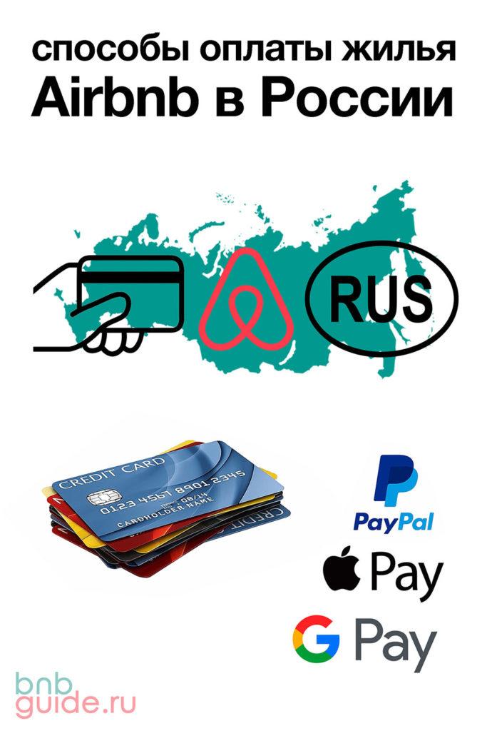 """Инфографика: способы оплаты жилья Airbnb в России. На изображении расположены знаки: """"Аирбнб""""; """"RUS""""; """"PayPal""""; """"Apple Pay""""; """"Google Pay"""" и фотография стопки дебетовых и кредитных банковских карт_"""