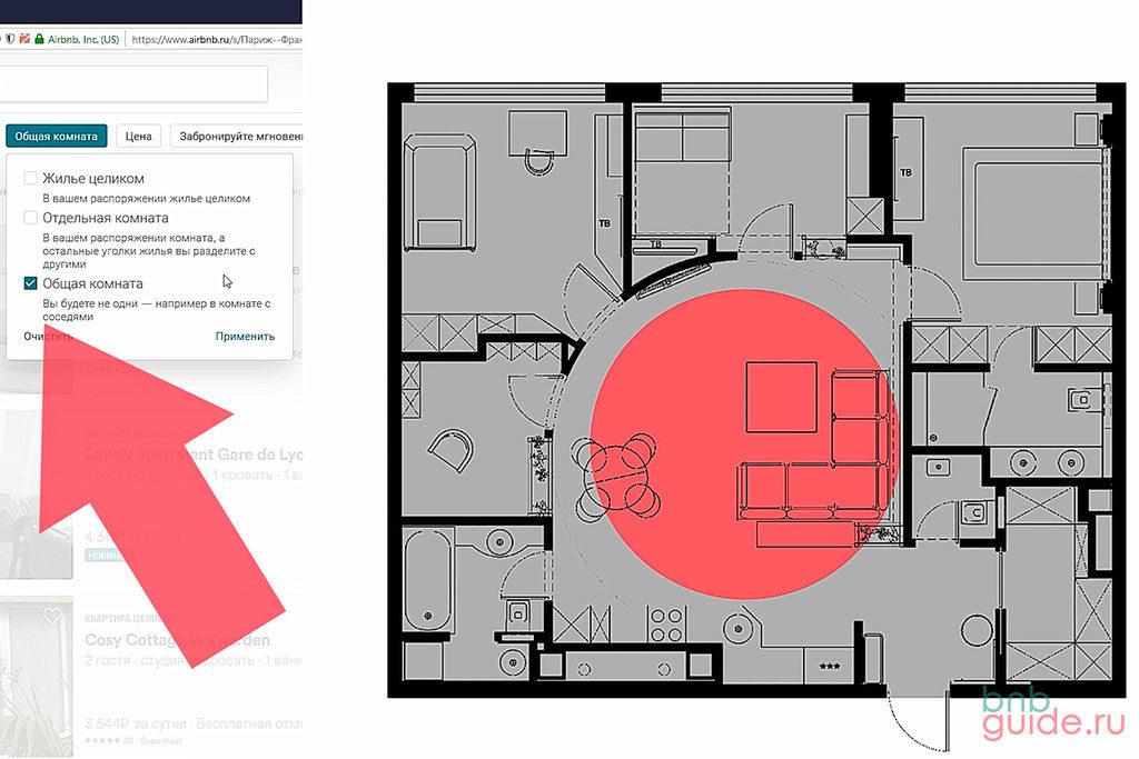 """Инфографика. Левая половина схемы: Галочка, указывающая тип """"Общая комната"""" аирбнб. Правая половина: план квартиры, все помещения закрашены серым цветом, гостиная помечена красным кругом – обозначение общего пространства, разделяемого с соседями или хозяевами_"""