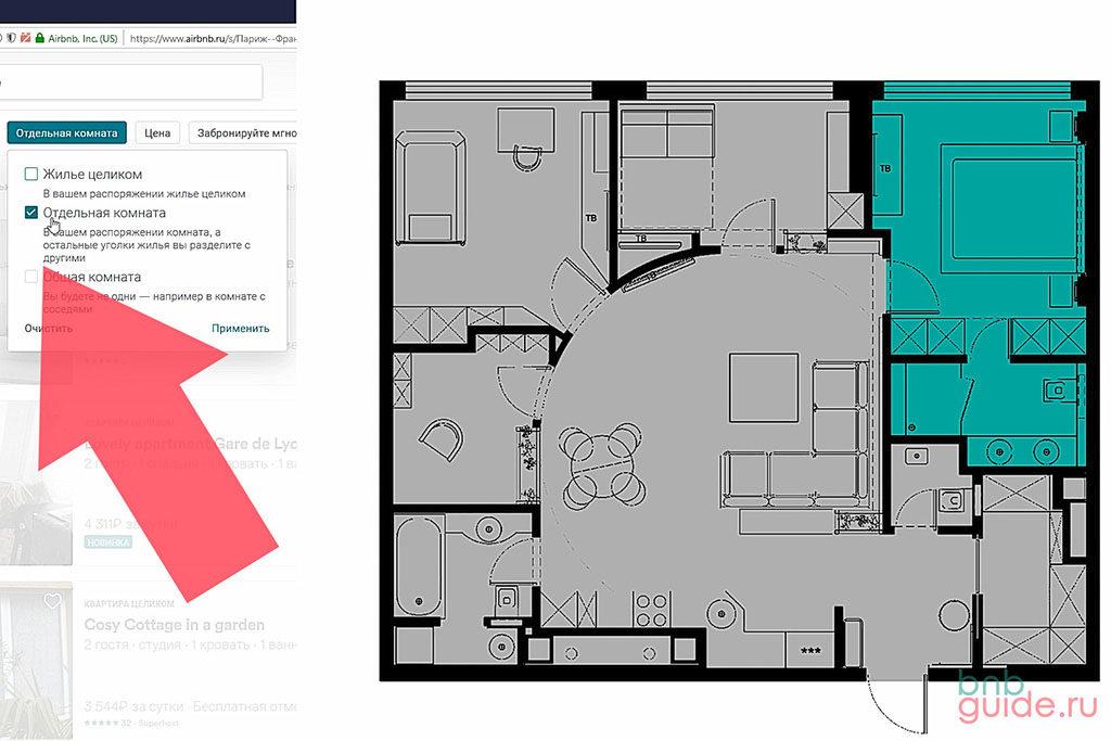 """Инфографика. Левая половина страницы: Галочка, указывающая тип """"Отдельная комната"""" airbnb. Правая половина: план квартиры, все помещения закрашены серым цветом, одна комната закрашена зеленым цветом – обозначение частично приватного пространства_"""