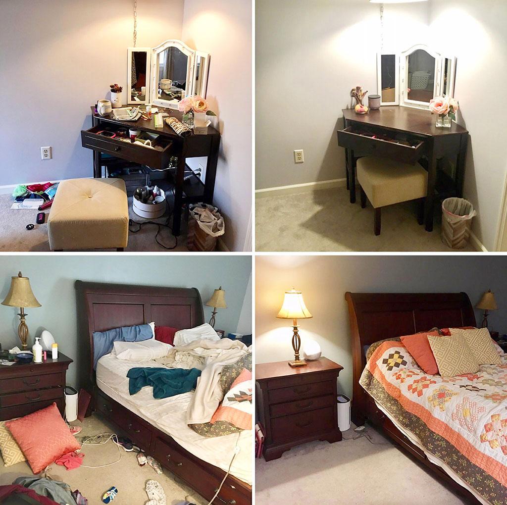 фото коллаж: до и после уборки вещей хозяина из жилой спальни. Подготовка отдельной комнаты к приему гостя с Airbnb подразумевает удаление лишних предметов (хозяйских вещей) из помещения_