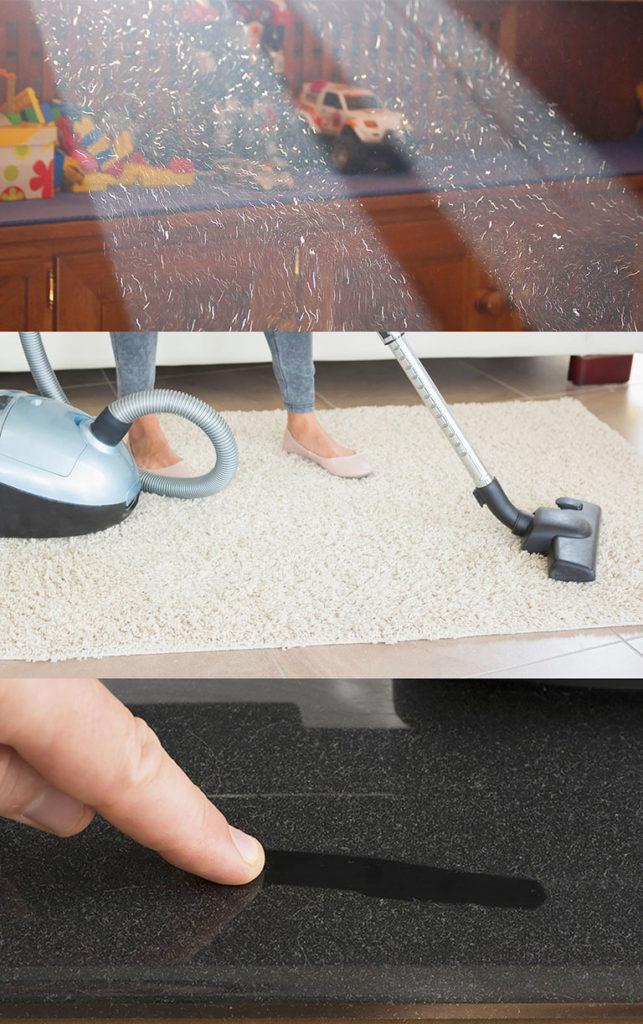 фото коллаж: пыль и запах в воздухе комнаты; процесс обеспыливания ковра пылесосом; хорошо видимая грязь на глянцевой поверхности_