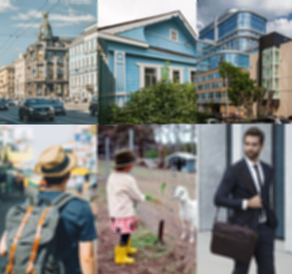 Определение потребностей гостя, снимающего на короткий срок через Airbnb. Конкурентным преимуществом в сдаче посуточно является точное определение преимуществ локации жилого объекта для конкретных категорий жильцов. У каждой категории съемщиков свои предпочтения по расположению арендного жилья. Фото коллаж: исторический центр Санкт-Петербурга и городской турист; деревянный загородный дом с фермой и семья с детьми; деловой центр Екатеринбурга и приехавший по работе командировочный_