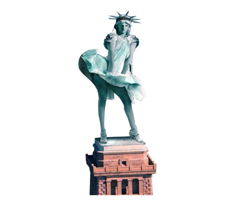 юмористический коллаж - изображение Статуи Свободы с задранной ветром юбкой как у Мерлин Монро_