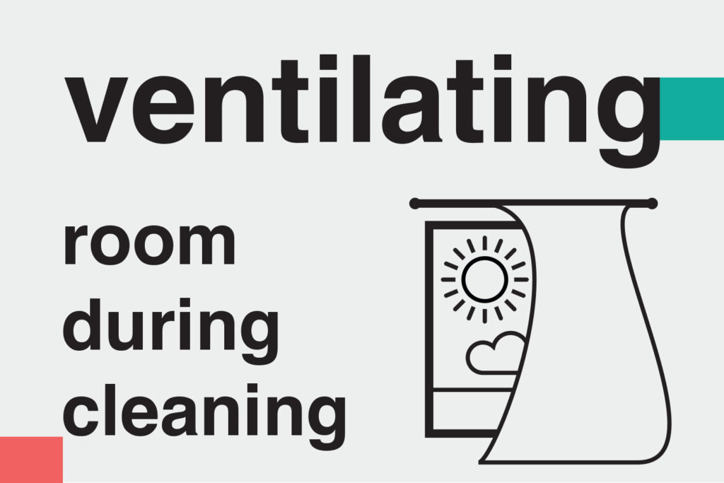 "illustration: ""Ventilating room during cleaning"" – Information on methods of home cleaning and disinfecting during covid-19 for ads on booking platforms. Images telling guests how host follow Airbnb cleaning guidelines"
