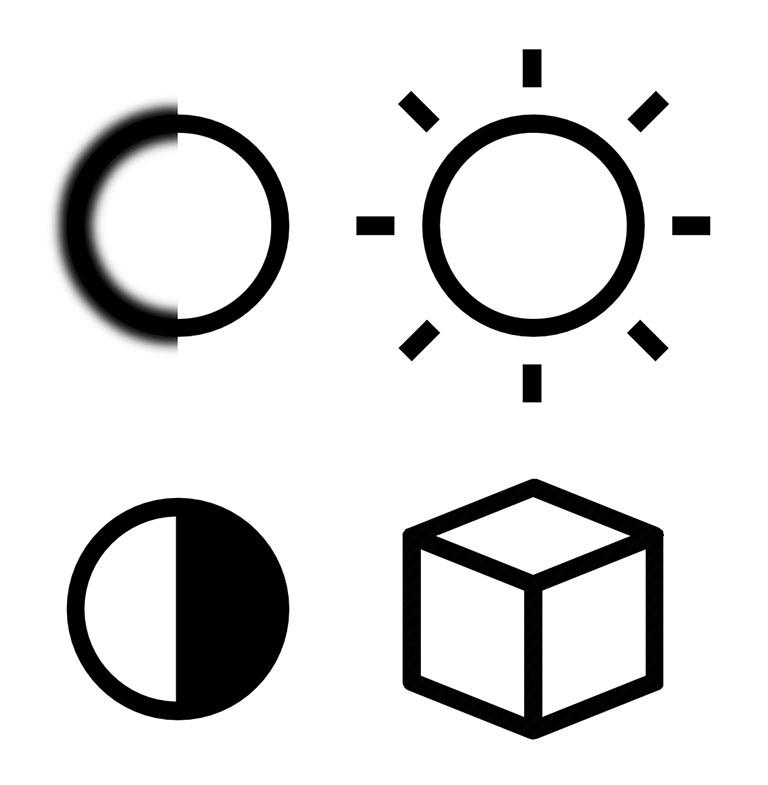 Значки (символы) основных параметров (характеристик) качества фото-изображения: резкость; яркость; контрастность; ракурс_